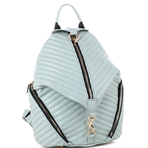 ES3352 Chevron Quilted Multi-Pocket Fashion Backpack Mint
