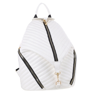 ES3352 Chevron Quilted Multi-Pocket Fashion Backpack White