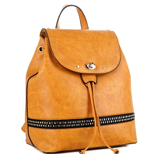 ES3367 Studded Turn-Lock Drawstring Fashion Backpack Mustard