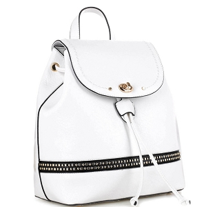 ES3367 Studded Turn-Lock Drawstring Fashion Backpack White