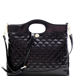 ES3411 Handle Accent Two-Tone Quilted 2-Way Satchel Black/Black