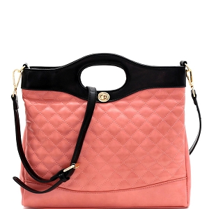 ES3411 Handle Accent Two-Tone Quilted 2-Way Satchel Pink/Black