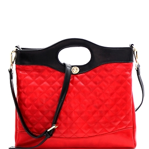 ES3411 Handle Accent Two-Tone Quilted 2-Way Satchel Red/Black