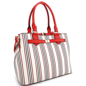 ES3661 Pinstripe Print Multi-Compartment 2-Way Satchel Red/Red