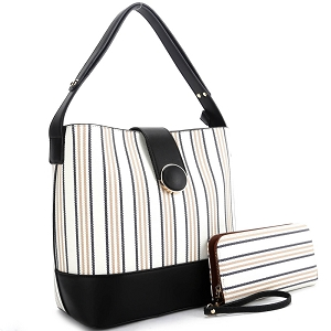 ES3662 Pinstripe Print 3-Compartment Hobo Wallet SET Black/Tan