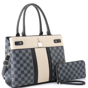 ES3673 Padlock Accent Monogram 2-Way Satchel Wallet SET Black/Black