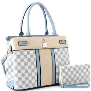 ES3673 Padlock Accent Monogram 2-Way Satchel Wallet SET Blue-Gray/White