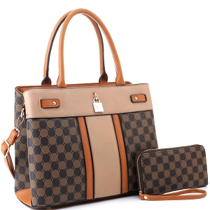 ES3673 Padlock Accent Monogram 2-Way Satchel Wallet SET Brown1/Coffee