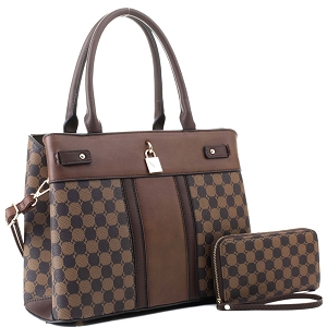 ES3673 Padlock Accent Monogram 2-Way Satchel Wallet SET Coffee1/Coffee