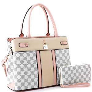 ES3673 Padlock Accent Monogram 2-Way Satchel Wallet SET Pink1/White