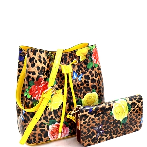 ES3837 Butterfly Leopard Print Patent Bucket Hobo Wallet SET Yellow/Brown
