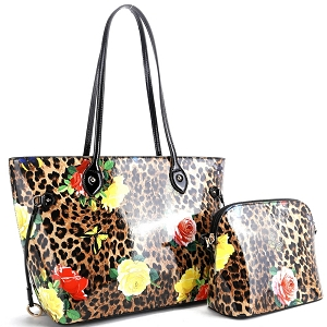 ES3838 Butterfly Leopard Print Patent 2 in 1 Tote Value SET Black/Brown