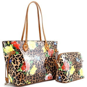 ES3838 Butterfly Leopard Print Patent 2 in 1 Tote Value SET Brown/Brown