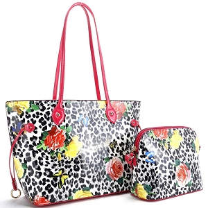 ES3838 Butterfly Leopard Print Patent 2 in 1 Tote Value SET Fuchsia/White