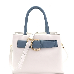 ES5048 Buckle Accent Color Block 2-Way Medium Satchel White/Blue-Gray