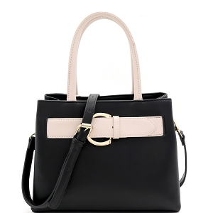ES5048 Buckle Accent Color Block 2-Way Medium Satchel Black/Beige