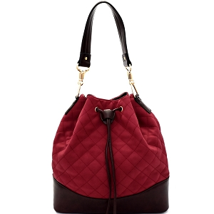 EW1418 Quilted Drawstring Two-Tone Bucket Shoulder Bag Wine/Coffee