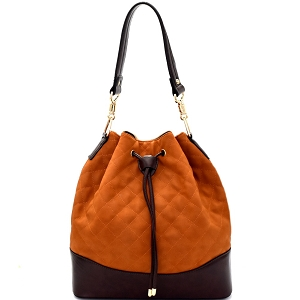 EW1418 Quilted Drawstring Two-Tone Bucket Shoulder Bag Brown/Coffee
