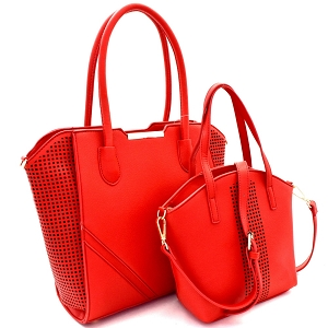 EW1879 Laer-Cut Accent 2 in 1 Tote Value SET Red