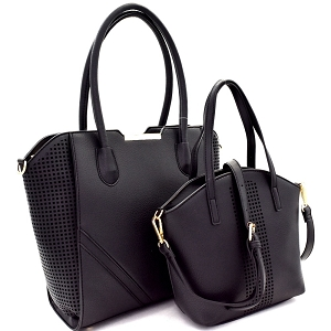 EW1879 Laer-Cut Accent 2 in 1 Tote Value SET Black