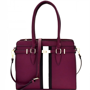 EW1999 Turn-Lock Accent Center Striped Large Tote Wine