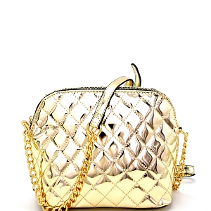 EW2165 Quilted Metallic Dome-Shaped Cross Body Light-Gold