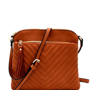 EW2353 Tassel Accent Chevron Quilted Cross Body Brown
