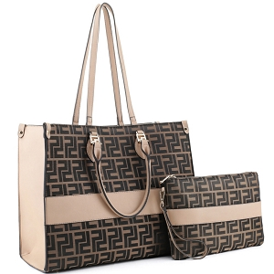 EW30033 Monogram Print Jaquard Fabric 2 in 1 Large Tote Wristlet Set Coffee/Taupe