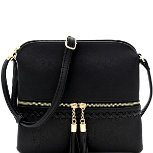 JBW2518 Tassel Front Pocket Whipstitched Cross Body Messenger Black