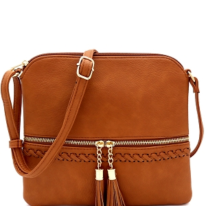 JBW2518 Tassel Front Pocket Whipstitched Cross Body Messenger Brown