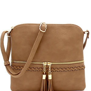 JBW2518 Tassel Front Pocket Whipstitched Cross Body Messenger Taupe