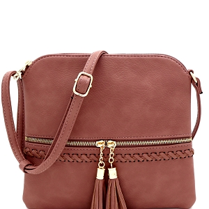 JBW2518 Tassel Front Pocket Whipstitched Cross Body Messenger Dark-Pink