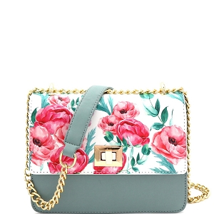 JES2578 Flower Print Turn-Lock Accent 2-Way Chain Shoulder Bag Light-Green
