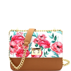 JES2578 Flower Print Turn-Lock Accent 2-Way Chain Shoulder Bag Tan
