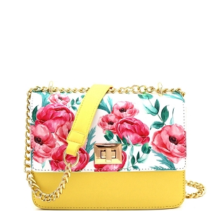 JES2578 Flower Print Turn-Lock Accent 2-Way Chain Shoulder Bag Yellow