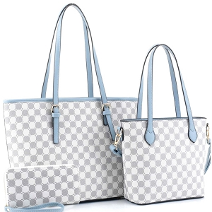 JEW3587A Monogram Two-Tone 3 in 1 Twin Tote Wallet SET Blue-Gray/White