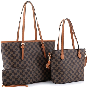 JEW3587A Monogram Two-Tone 3 in 1 Twin Tote Wallet SET Brown/Coffee