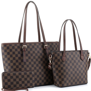 JEW3587A Monogram Two-Tone 3 in 1 Twin Tote Wallet SET Coffee/Coffee