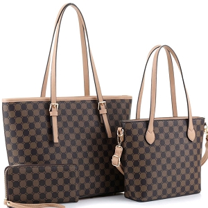 JEW3587A Monogram Two-Tone 3 in 1 Twin Tote Wallet SET Light-Tan/Coffee