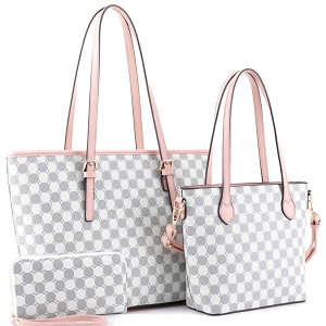 JEW3587A Monogram Two-Tone 3 in 1 Twin Tote Wallet SET Pink/White