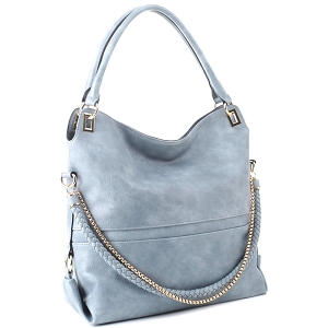 JQS3995 Braided Rope Chain Accent Large Hobo Purse Blue-Gray