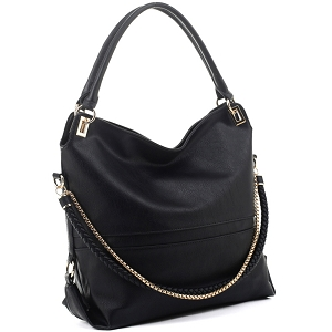 JQS3995 Braided Rope Chain Accent Large Hobo Purse Black