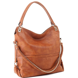 JQS3995 Braided Rope Chain Accent Large Hobo Purse Light-Brown