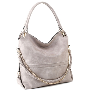 JQS3995 Braided Rope Chain Accent Large Hobo Purse Light-Stone