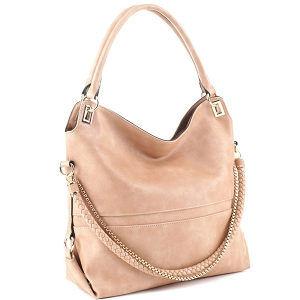 JQS3995 Braided Rope Chain Accent Large Hobo Purse Light-Tan
