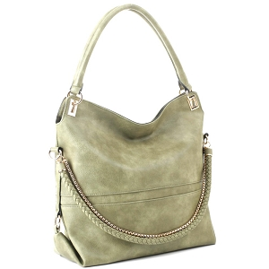 JQS3995 Braided Rope Chain Accent Large Hobo Purse Olive