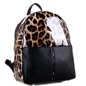 JQW3612 Leopard Print Patent Multi-Pocket Fashion Backpack Brown/Black