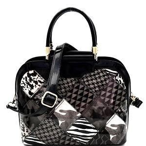JXW3620 Multi-Compartment Animal Print Patchwork Patent Dome Satchel Black
