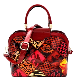 JXW3620 Multi-Compartment Animal Print Patchwork Patent Dome Satchel Red
