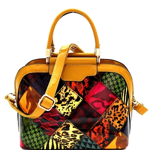 JXW3620 Multi-Compartment Animal Print Patchwork Patent Dome Satchel Mustard